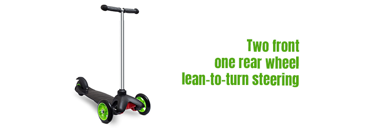 Two-front-–-one-rear-wheel-lean-to-turn-steering